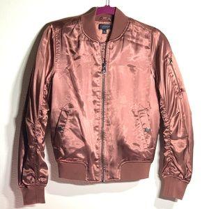 Topshop Metallic Bomber Jacket in Rust Brown